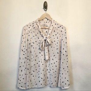LOFT   Cream Polka Dot Tie-Neck Blouse XL